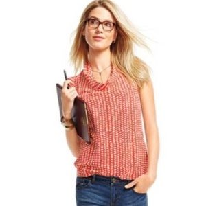 CAbi Madeline Coral Abstract Polka Dot Blouse